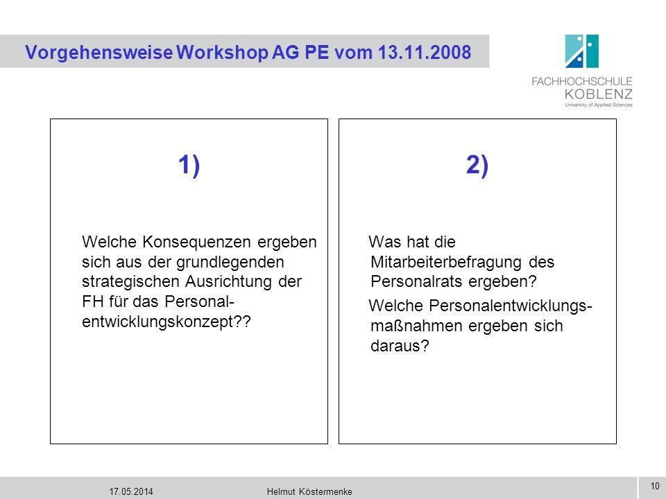 Vorgehensweise Workshop AG PE vom 13.11.2008
