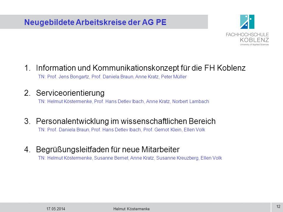 Neugebildete Arbeitskreise der AG PE