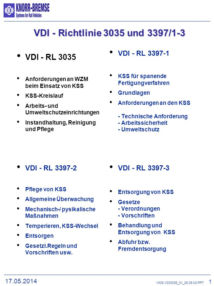 VDI - Richtlinie 3035 und 3397/1-3 VDI - RL 3035 VDI - RL 3397-1
