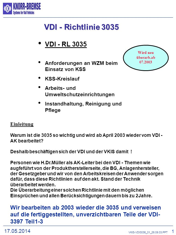 VDI - Richtlinie 3035 VDI - RL 3035