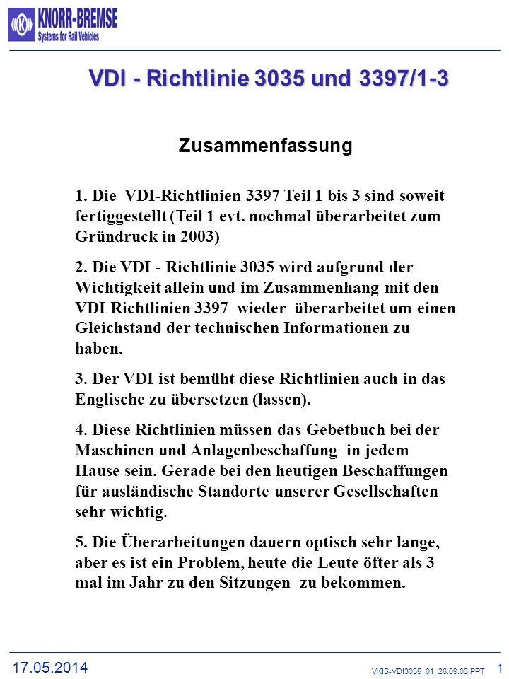 VDI - Richtlinie 3035 und 3397/1-3 Zusammenfassung