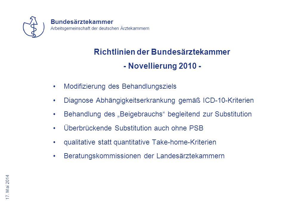 Richtlinien der Bundesärztekammer - Novellierung 2010 -