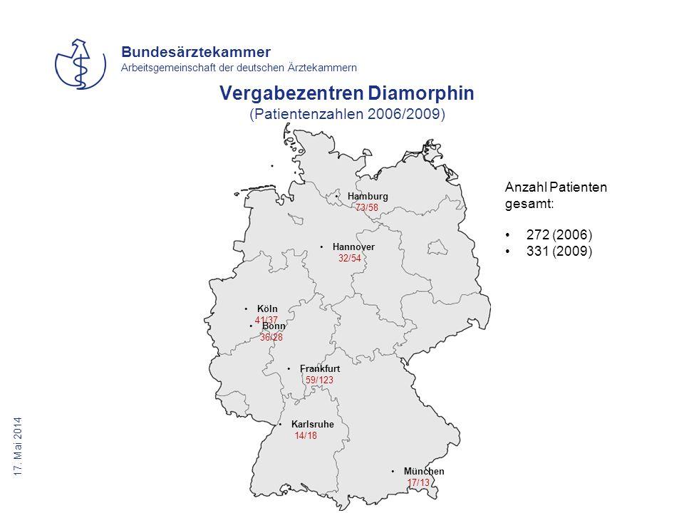 Vergabezentren Diamorphin (Patientenzahlen 2006/2009)