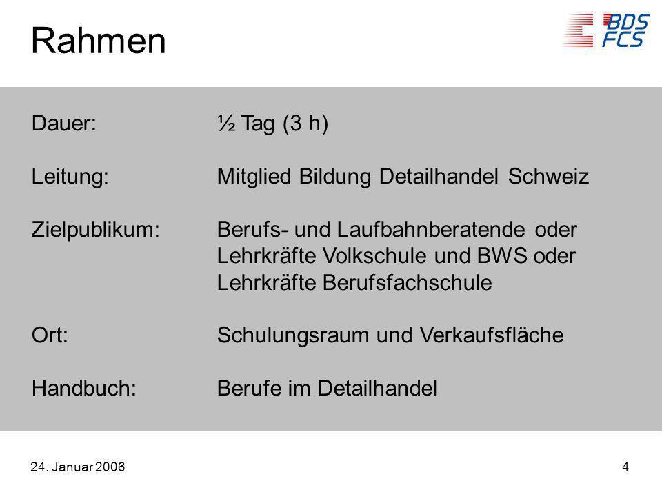 Rahmen Dauer: ½ Tag (3 h) Leitung: Mitglied Bildung Detailhandel Schweiz. Zielpublikum: Berufs- und Laufbahnberatende oder.