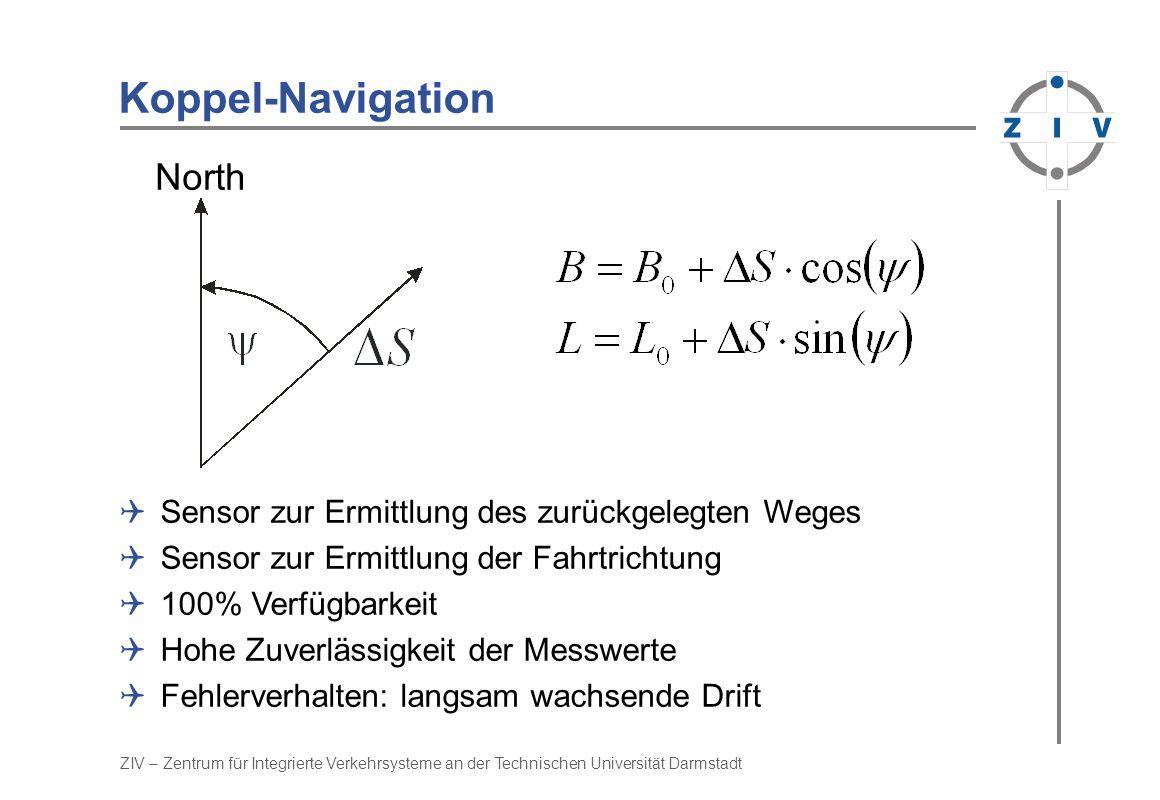 Koppel-Navigation North Sensor zur Ermittlung des zurückgelegten Weges