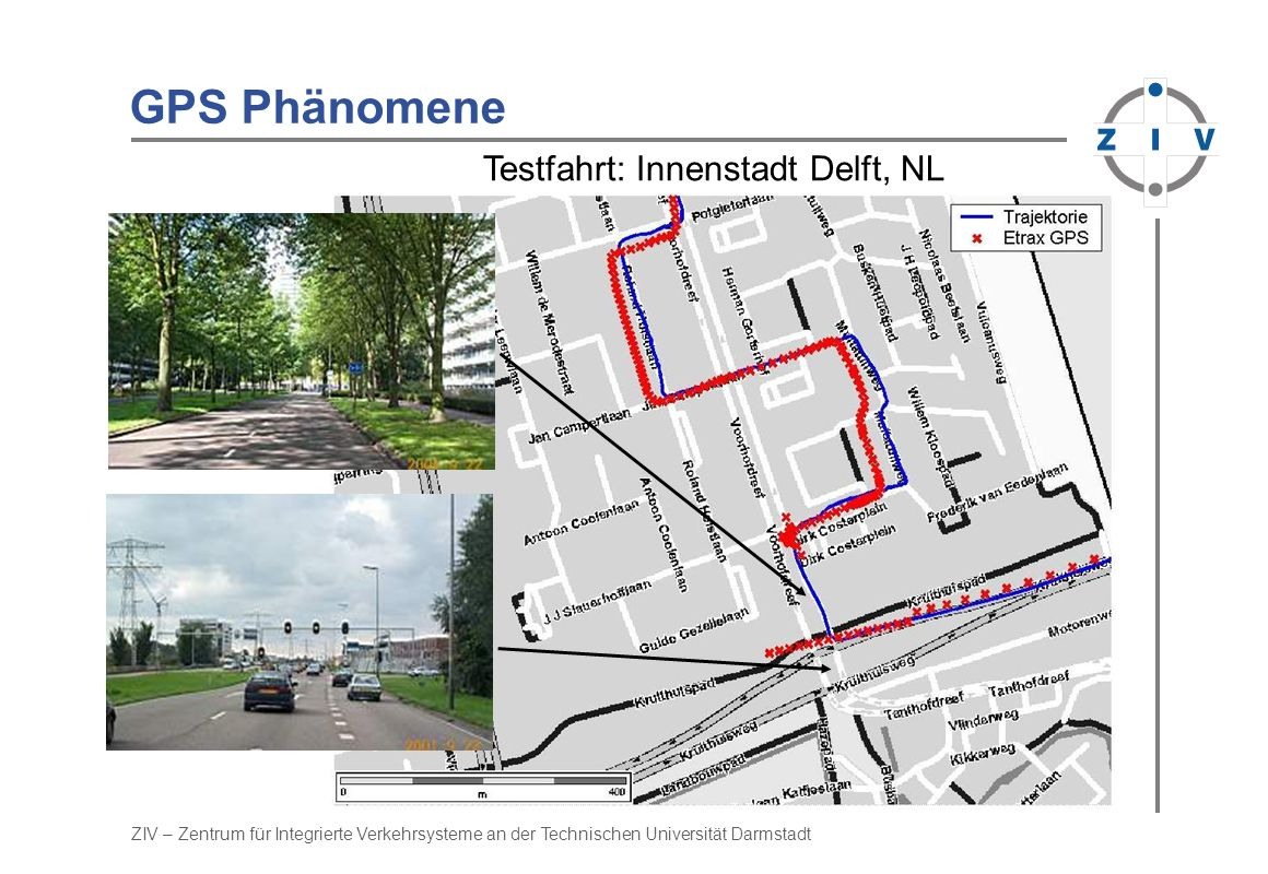 GPS Phänomene Testfahrt: Innenstadt Delft, NL