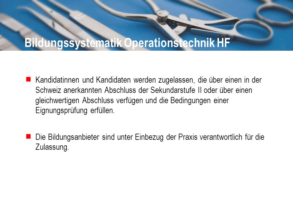 Bildungssystematik Operationstechnik HF