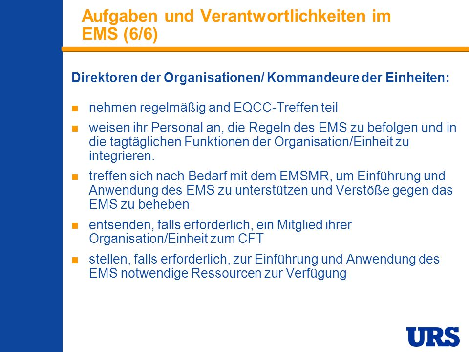Aufgaben und Verantwortlichkeiten im EMS (6/6)