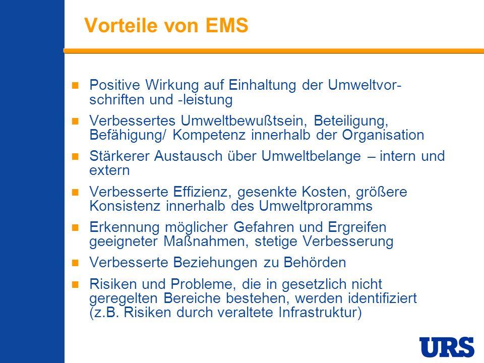 Vorteile von EMS Positive Wirkung auf Einhaltung der Umweltvor-schriften und -leistung.