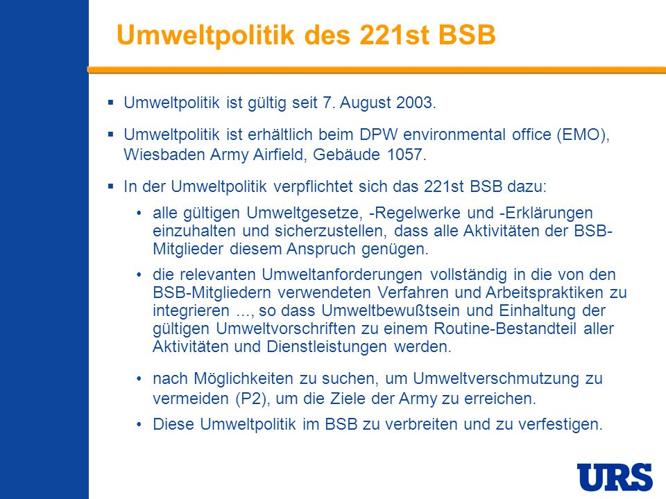 Umweltpolitik des 221st BSB