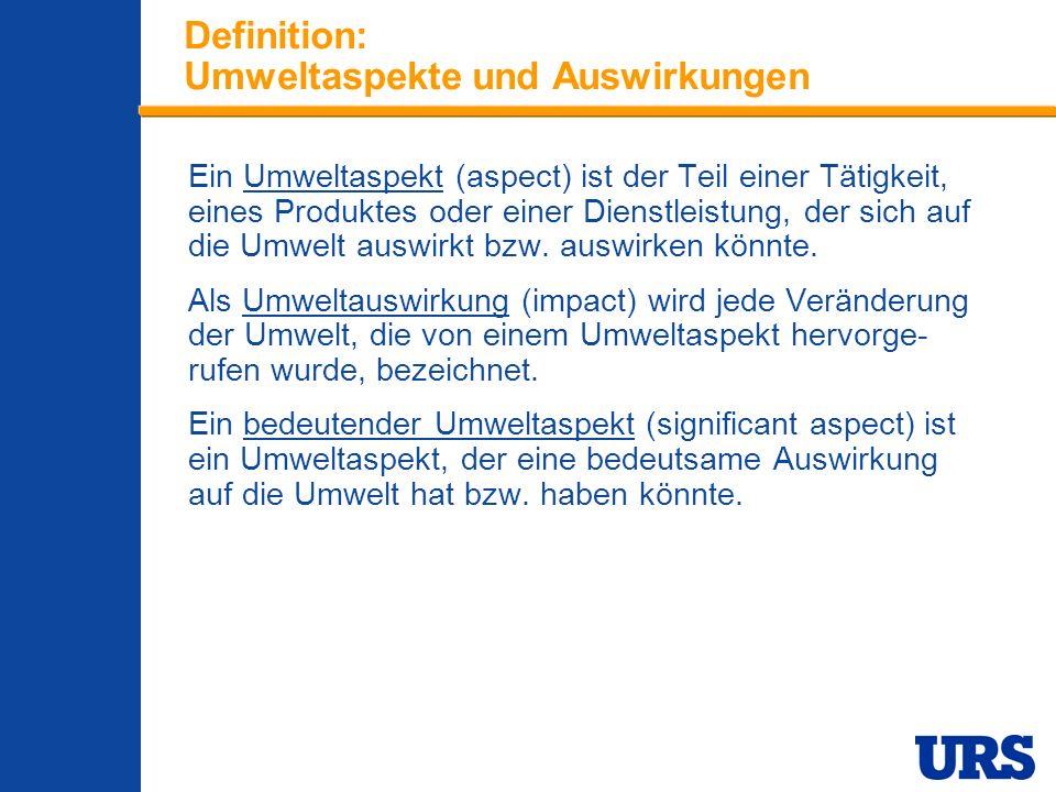 Definition: Umweltaspekte und Auswirkungen