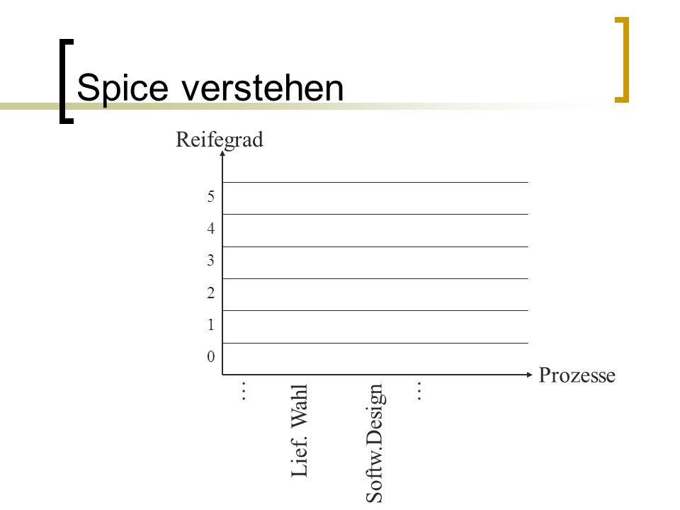 Spice verstehen Reifegrad Prozesse … … Lief. Wahl Softw.Design 5 4 3 2