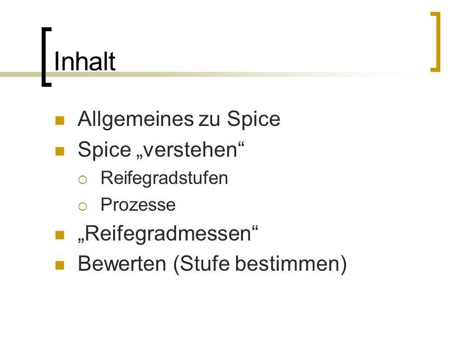 """Inhalt Allgemeines zu Spice Spice """"verstehen """"Reifegradmessen"""