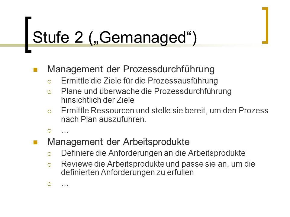 """Stufe 2 (""""Gemanaged ) Management der Prozessdurchführung"""