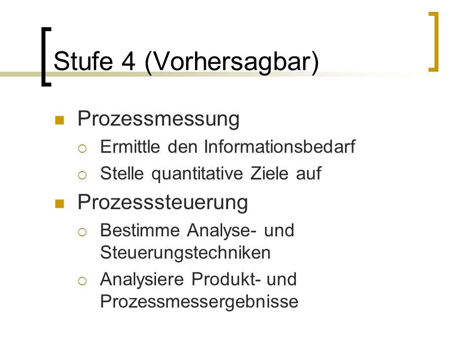 Stufe 4 (Vorhersagbar) Prozessmessung Prozesssteuerung