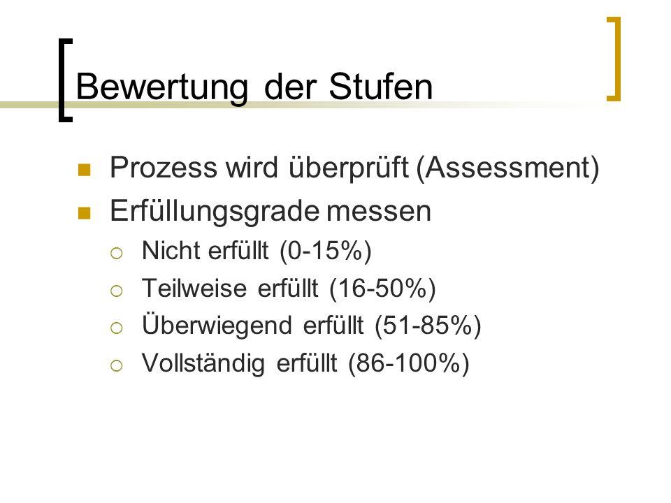 Bewertung der Stufen Prozess wird überprüft (Assessment)