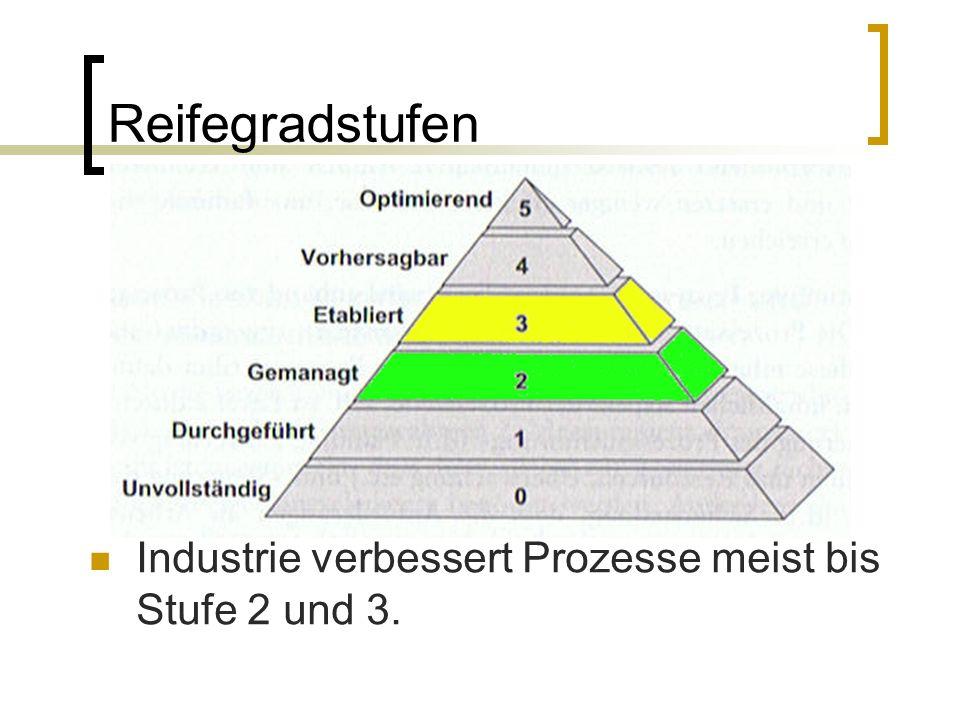 Reifegradstufen Industrie verbessert Prozesse meist bis Stufe 2 und 3.