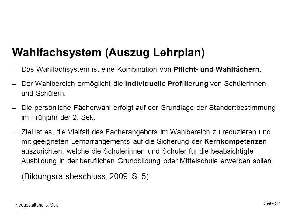 Wahlfachsystem (Auszug Lehrplan)