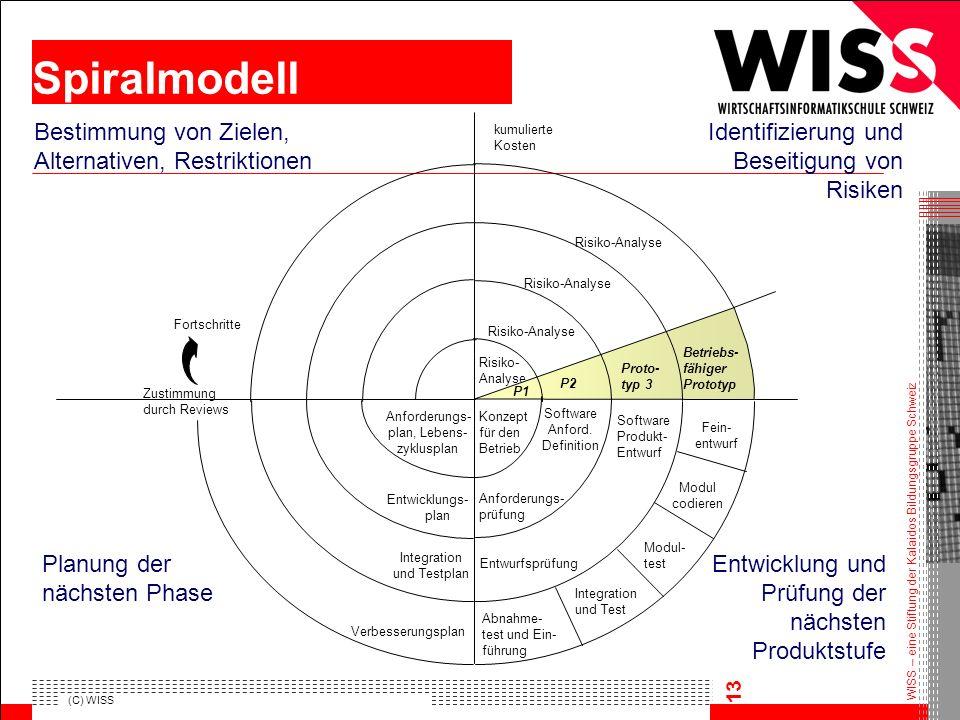 Spiralmodell Bestimmung von Zielen, Alternativen, Restriktionen