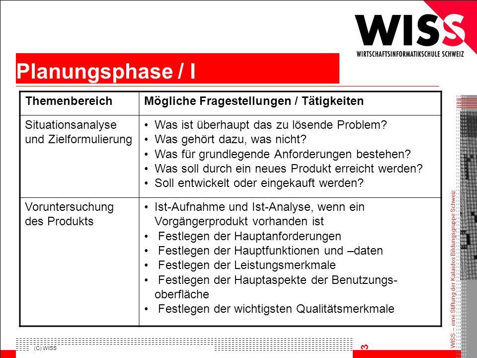 Planungsphase / I Themenbereich Mögliche Fragestellungen / Tätigkeiten