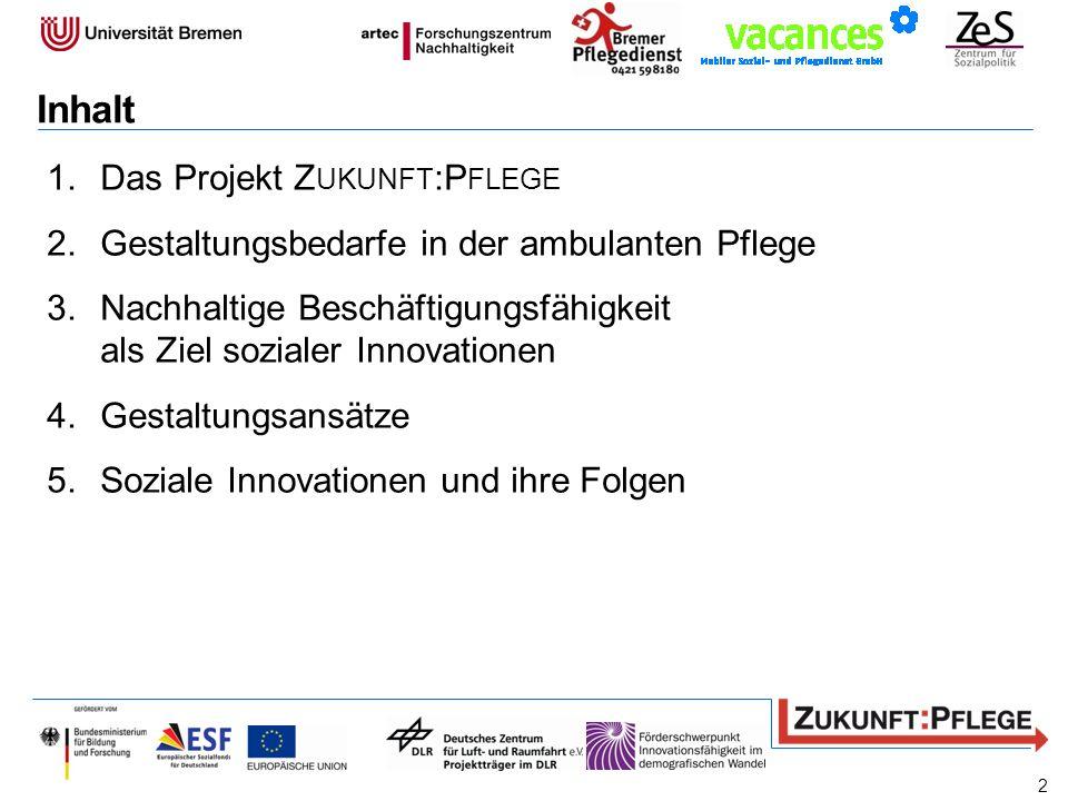 Inhalt Das Projekt Zukunft:Pflege