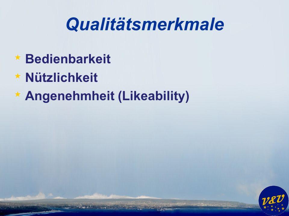 Qualitätsmerkmale Bedienbarkeit Nützlichkeit