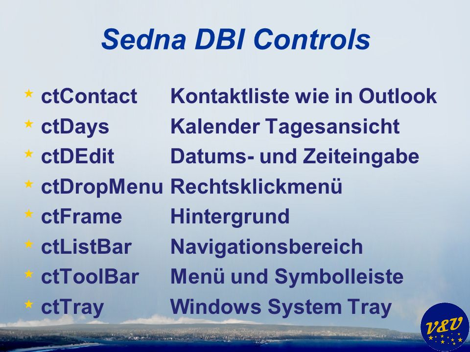 Sedna DBI Controls ctContact Kontaktliste wie in Outlook