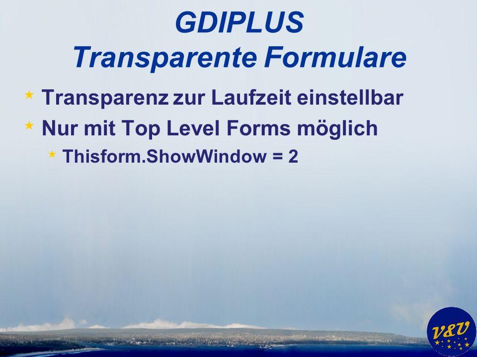 GDIPLUS Transparente Formulare