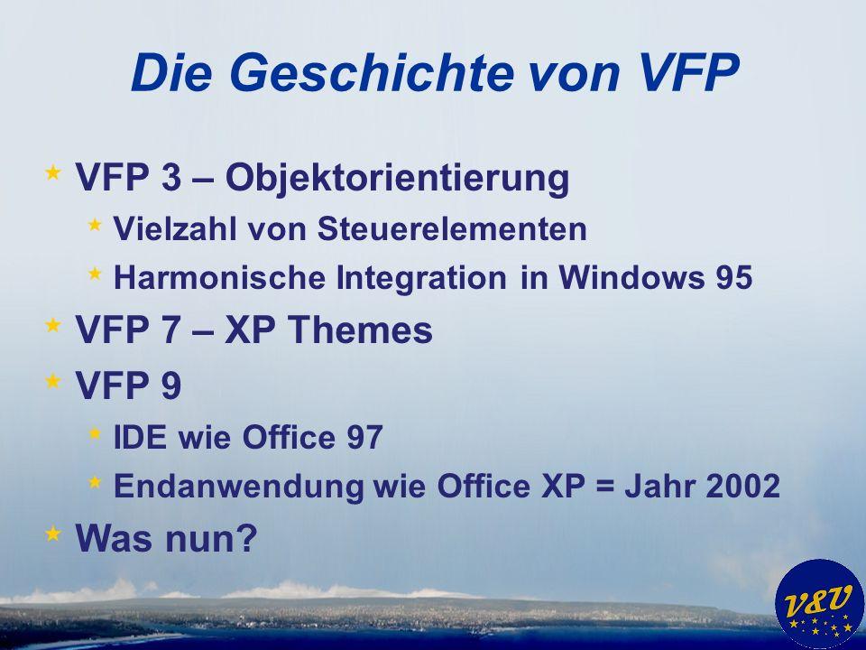 Die Geschichte von VFP VFP 3 – Objektorientierung VFP 7 – XP Themes