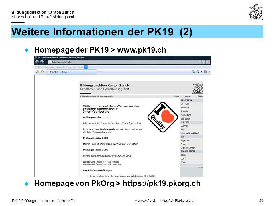 Weitere Informationen der PK19 (2)