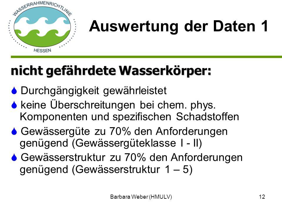 Auswertung der Daten 1 nicht gefährdete Wasserkörper: