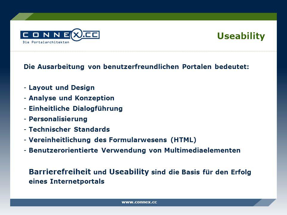 Useability Die Ausarbeitung von benutzerfreundlichen Portalen bedeutet: Layout und Design. Analyse und Konzeption.