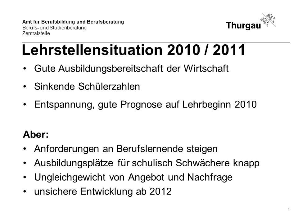 Lehrstellensituation 2010 / 2011