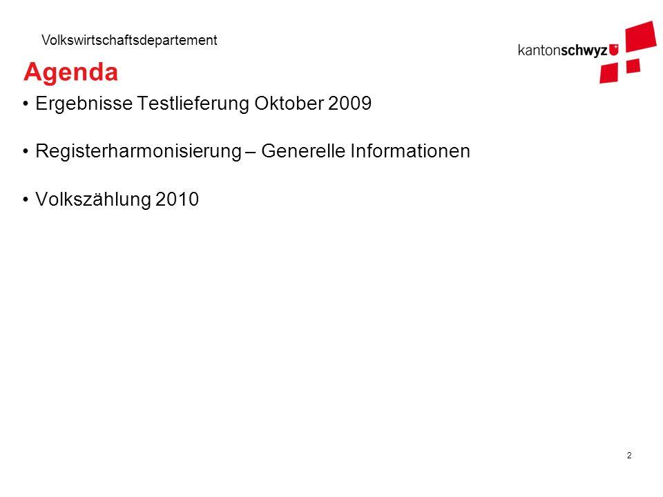 Agenda Ergebnisse Testlieferung Oktober 2009
