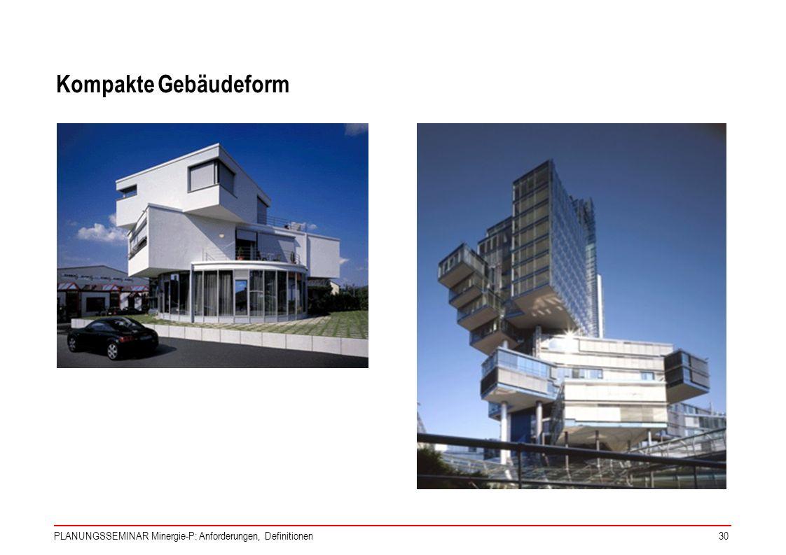Kompakte Gebäudeform PLANUNGSSEMINAR Minergie-P: Anforderungen, Definitionen