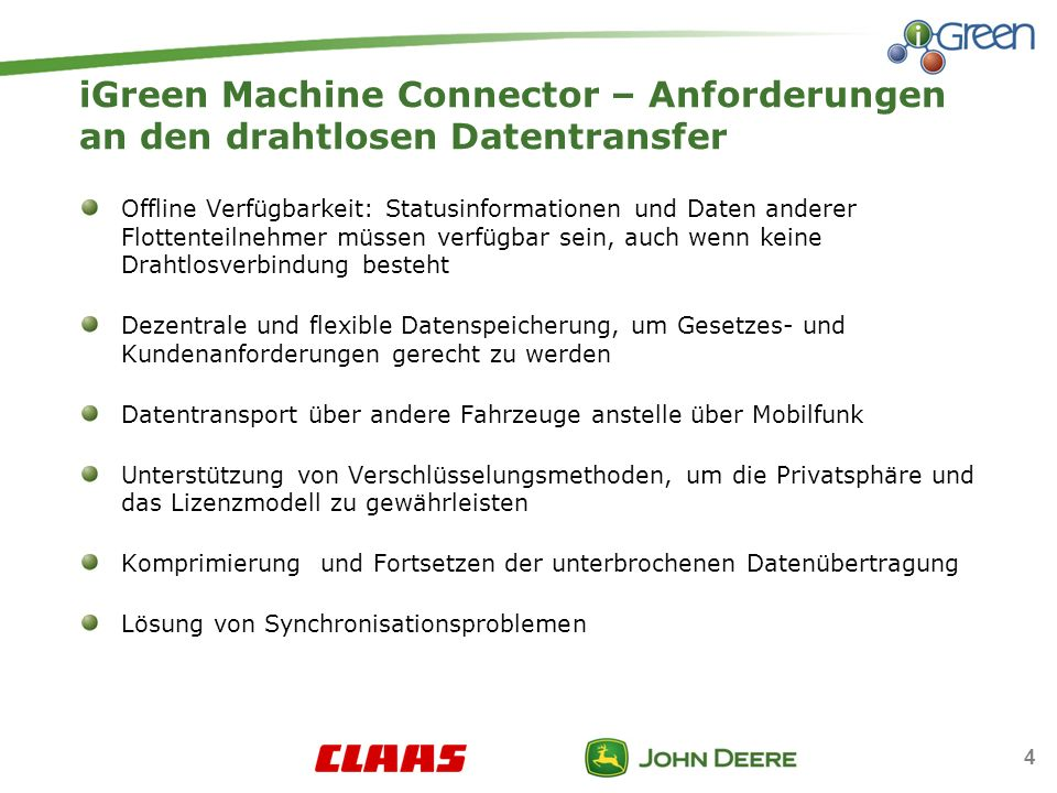 iGreen Machine Connector – Anforderungen an den drahtlosen Datentransfer