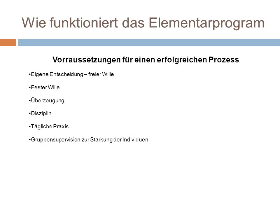 Wie funktioniert das Elementarprogram