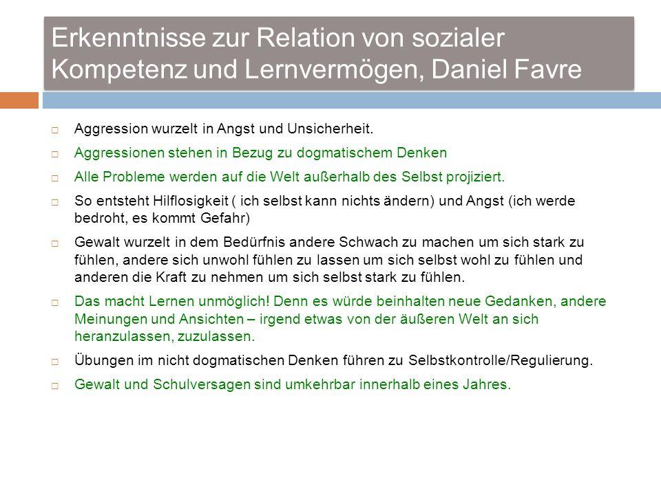 Erkenntnisse zur Relation von sozialer Kompetenz und Lernvermögen, Daniel Favre