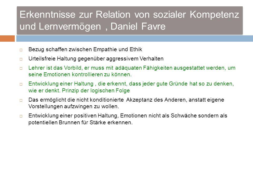 Erkenntnisse zur Relation von sozialer Kompetenz und Lernvermögen , Daniel Favre