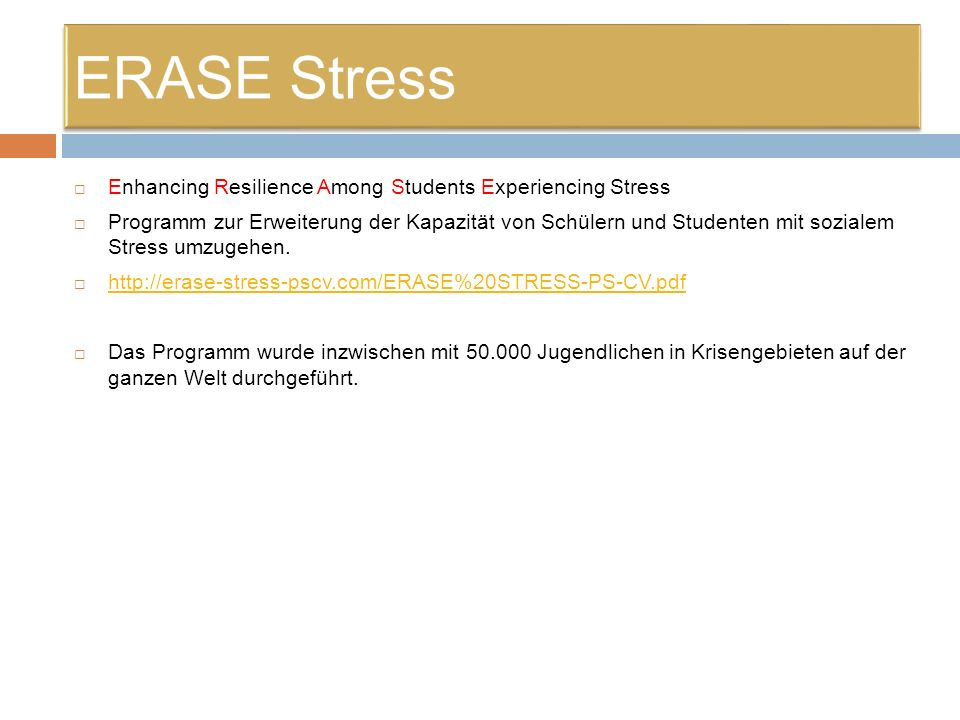 ERASE Stress Enhancing Resilience Among Students Experiencing Stress