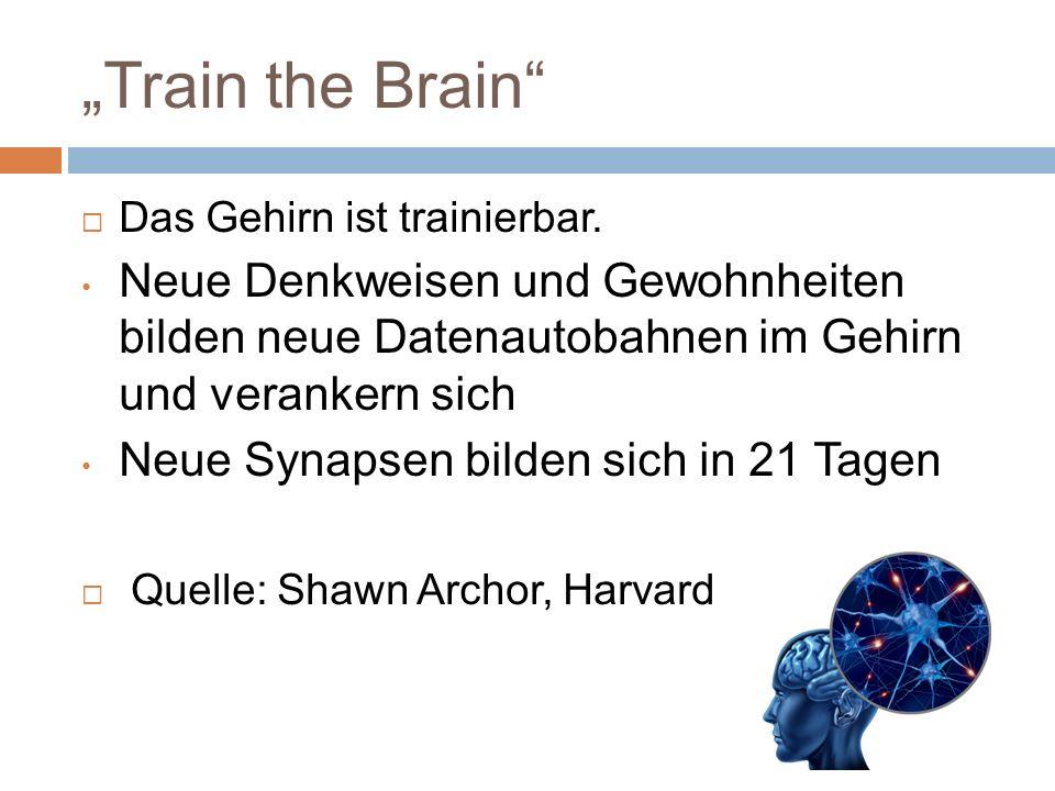 """""""Train the Brain Das Gehirn ist trainierbar. Neue Denkweisen und Gewohnheiten bilden neue Datenautobahnen im Gehirn und verankern sich."""