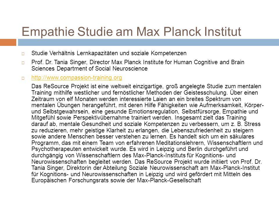 Empathie Studie am Max Planck Institut