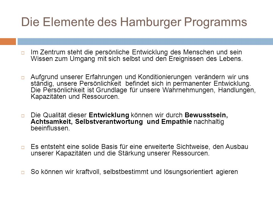 Die Elemente des Hamburger Programms