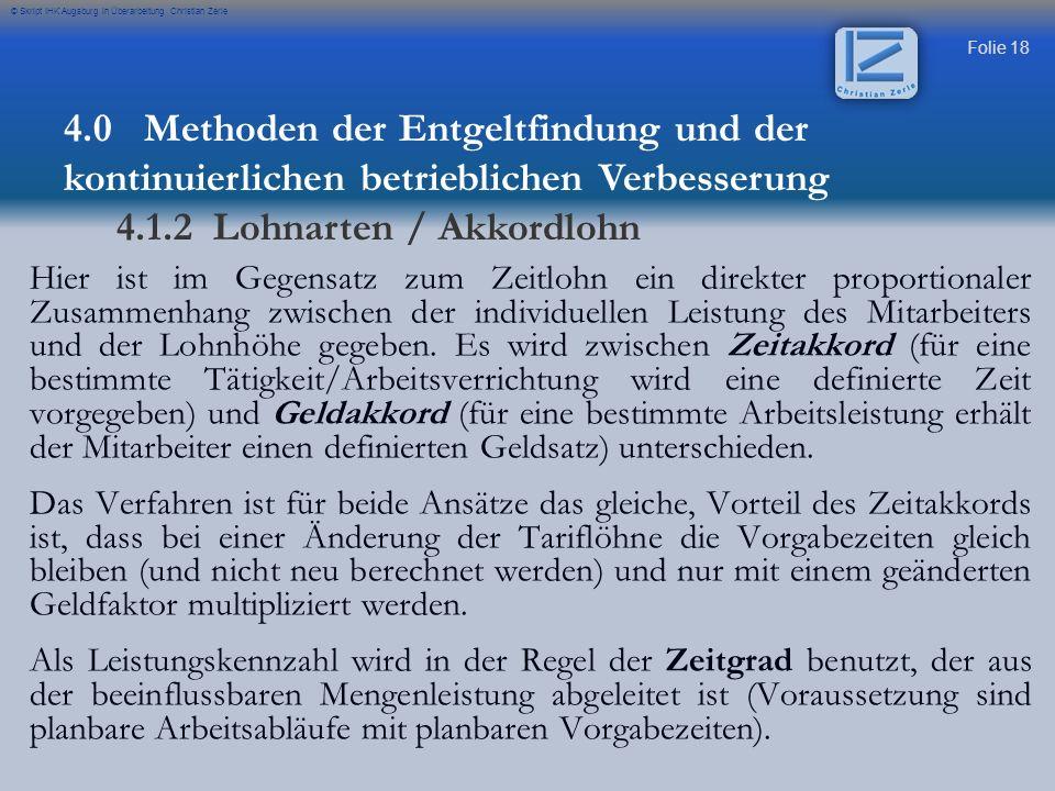 4.1.2 Lohnarten / Akkordlohn