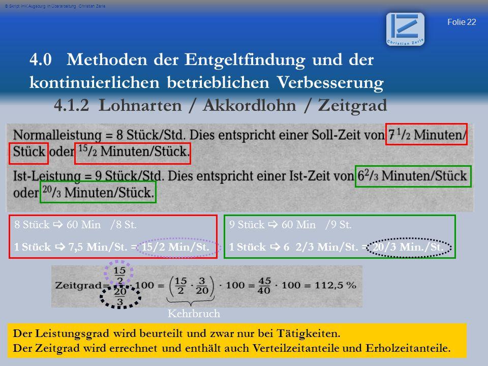 4.1.2 Lohnarten / Akkordlohn / Zeitgrad