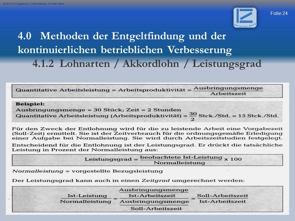 4.1.2 Lohnarten / Akkordlohn / Leistungsgrad