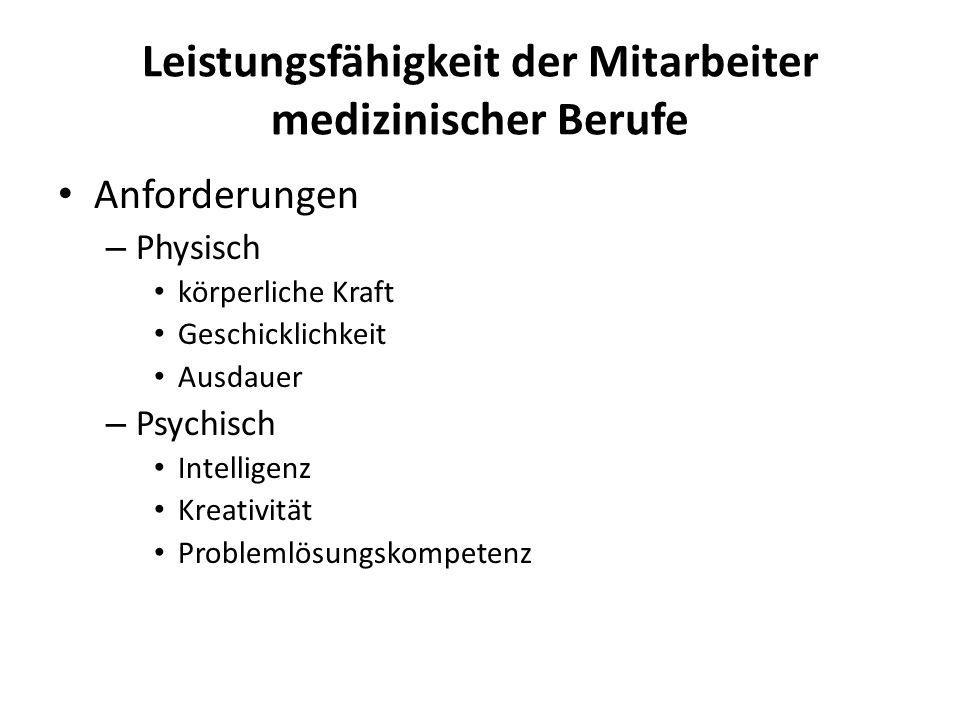 Leistungsfähigkeit der Mitarbeiter medizinischer Berufe