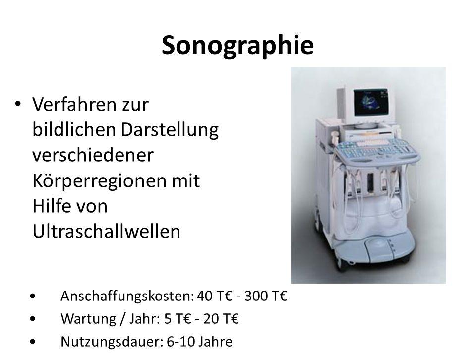 Sonographie Verfahren zur bildlichen Darstellung verschiedener Körperregionen mit Hilfe von Ultraschallwellen.