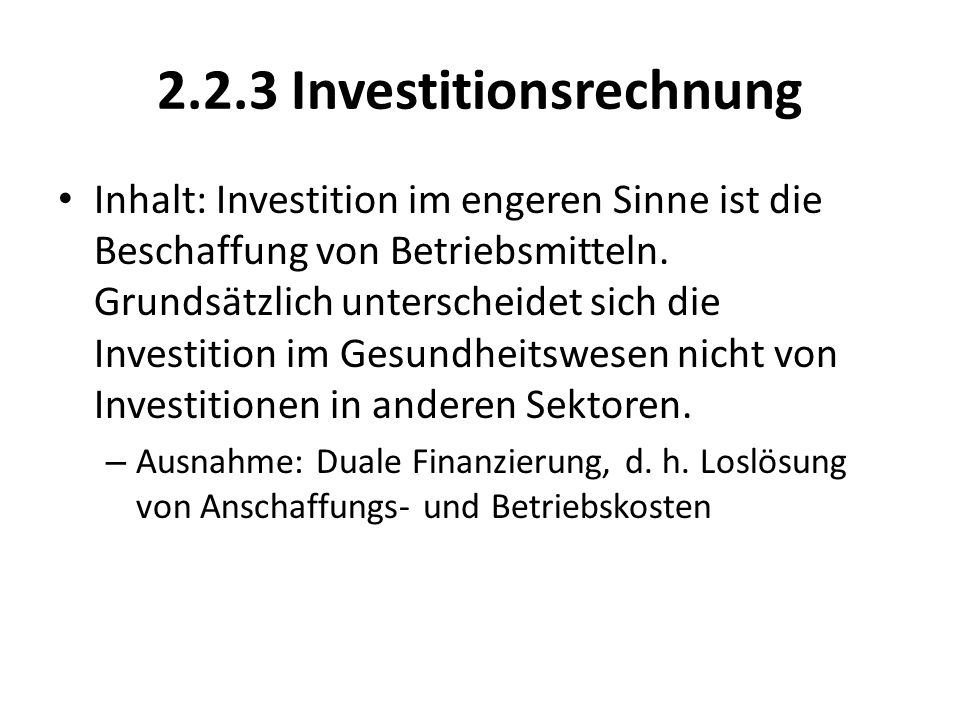 2.2.3 Investitionsrechnung