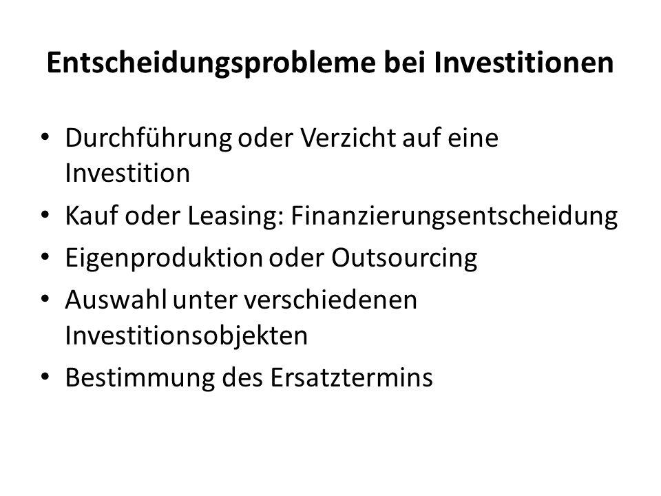 Entscheidungsprobleme bei Investitionen